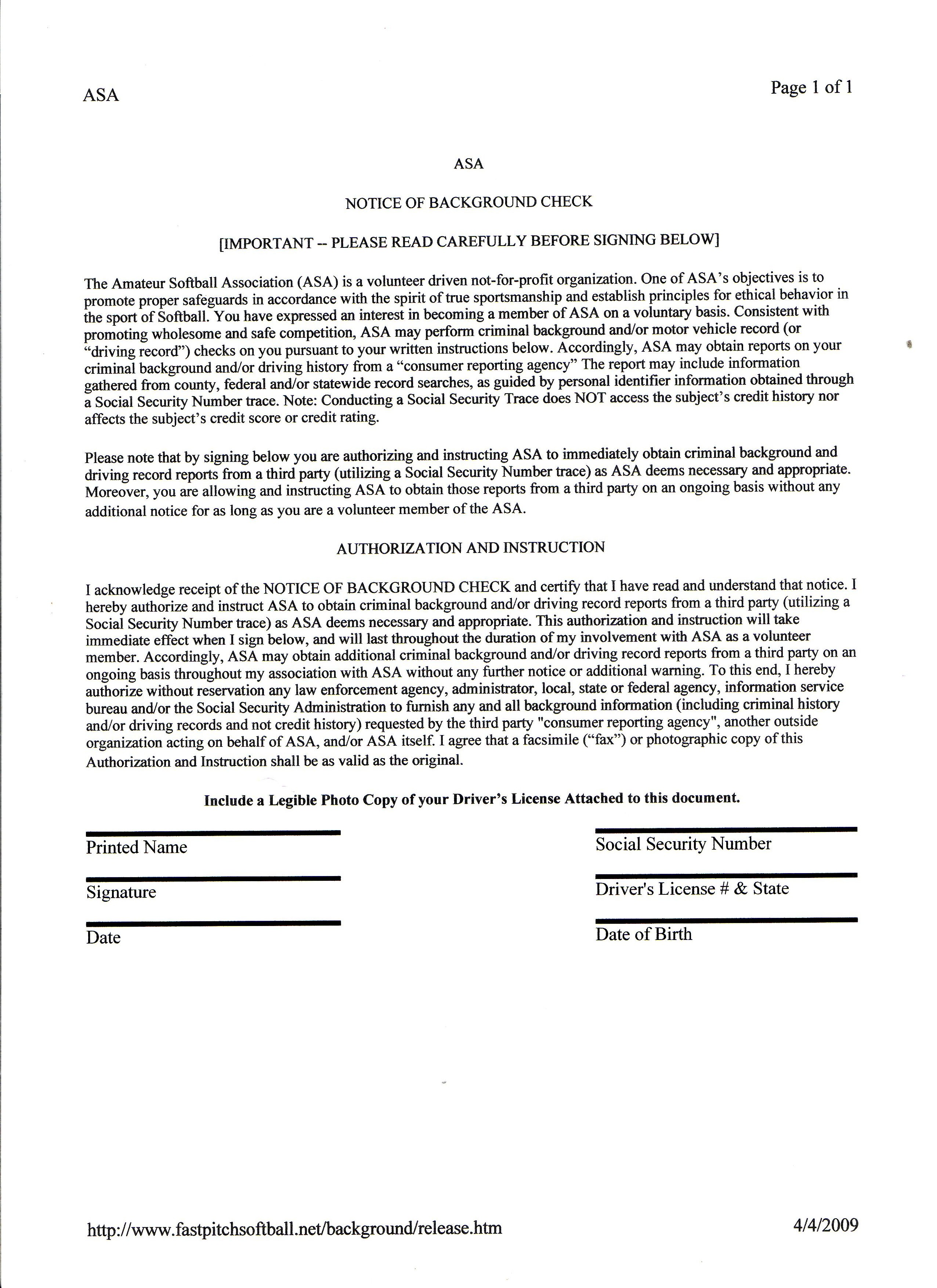 ASA Background Check Authorization Form